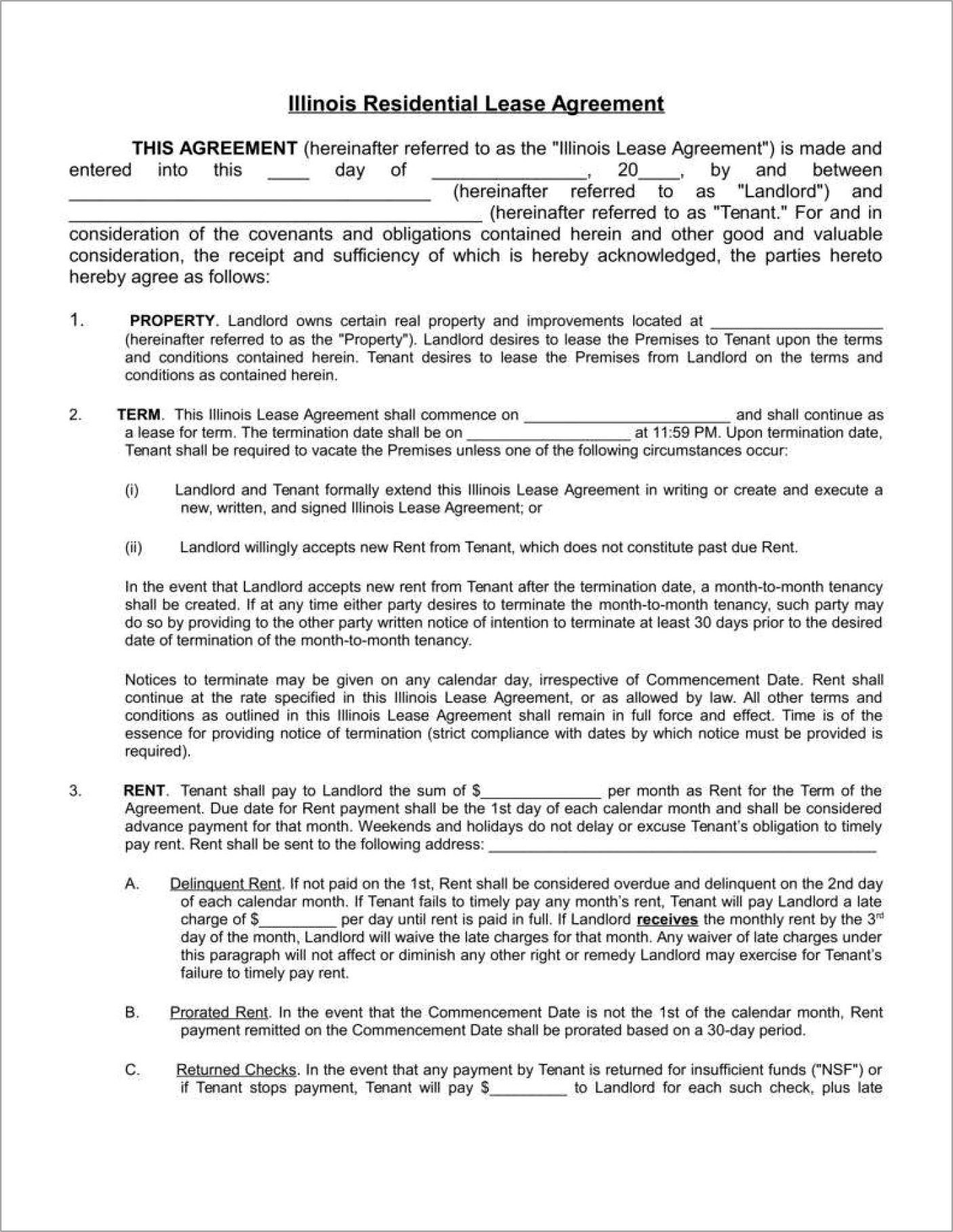 California Month To Month Lease Agreement Template