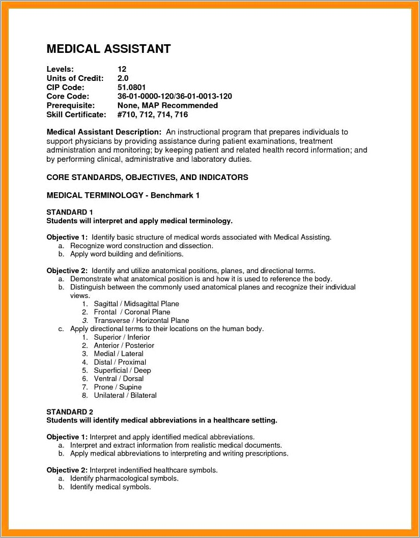 Career Objective Sample For Medical Assistant