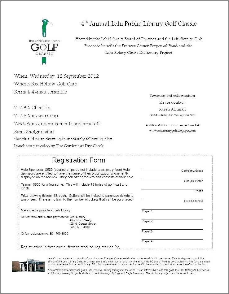 Charity Golf Tournament Registration Form Template