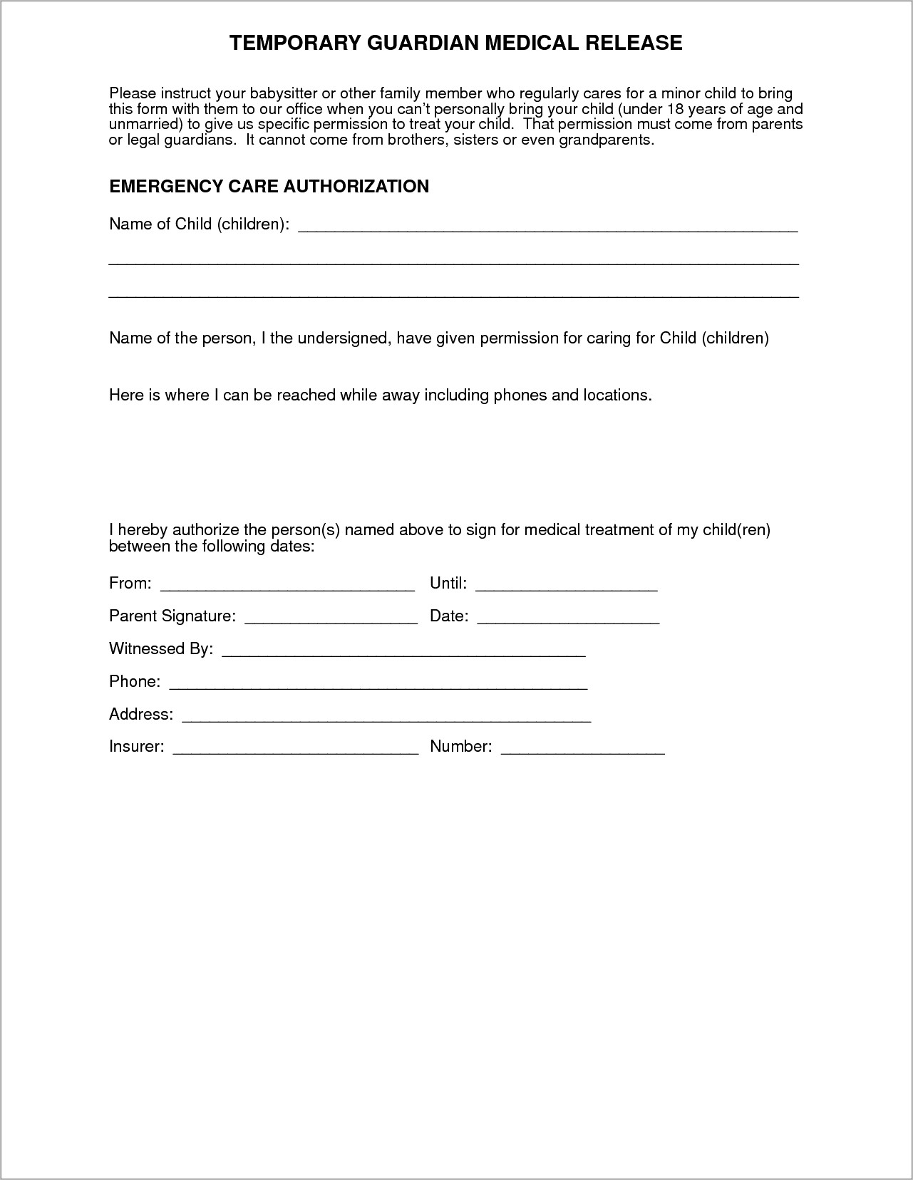 Child Medical Consent Form Example