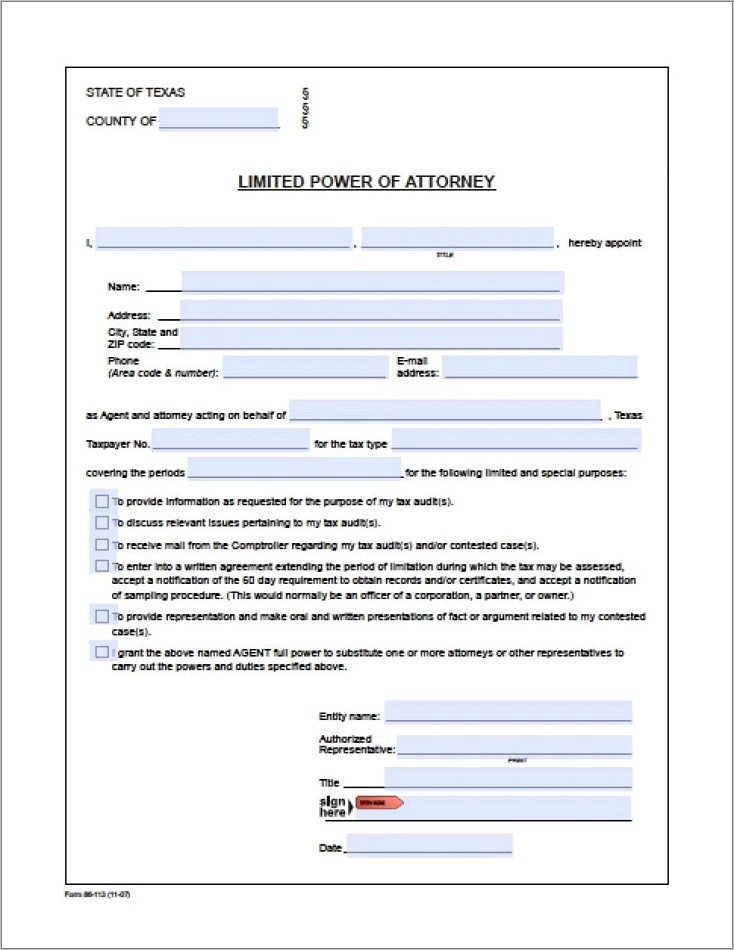 Child Medical Power Of Attorney Form Texas