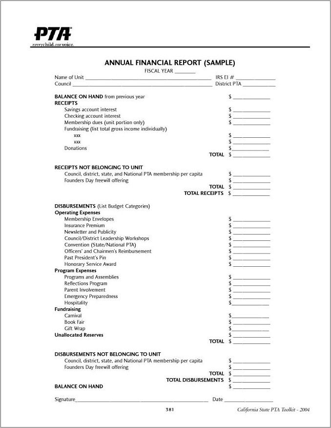 Church Income And Expense Report Template