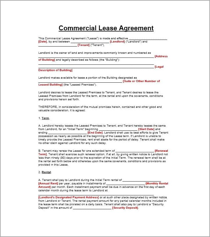 Commercial Lease Template Free