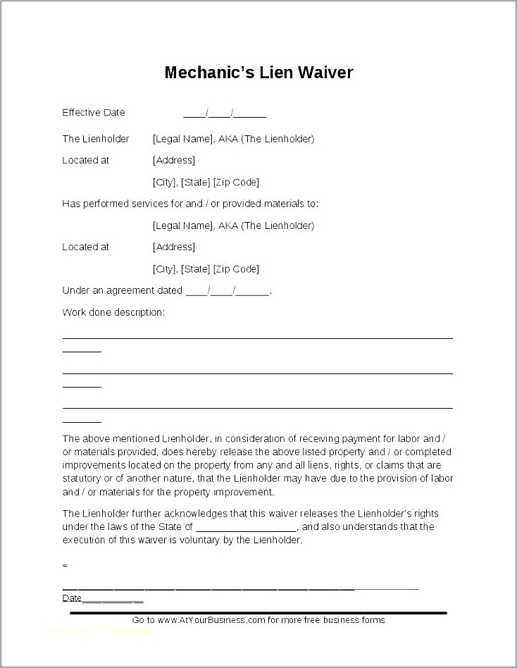 Conditional Lien Waiver Form Illinois