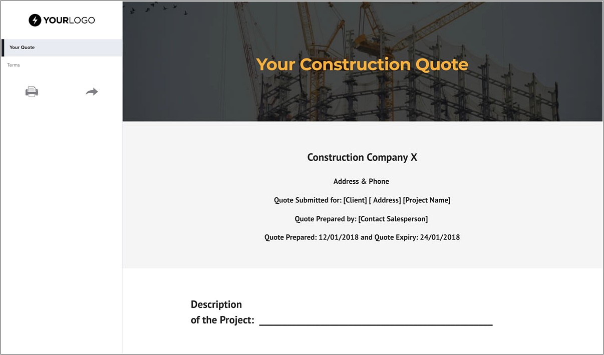Construction Quote Template Free