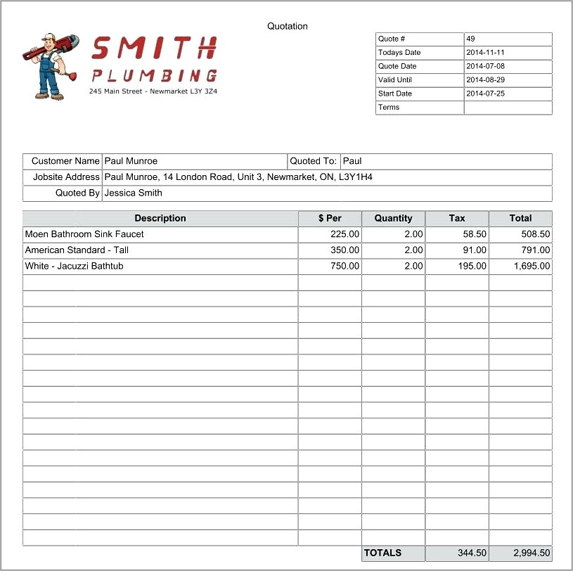 Construction Quote Template Pdf