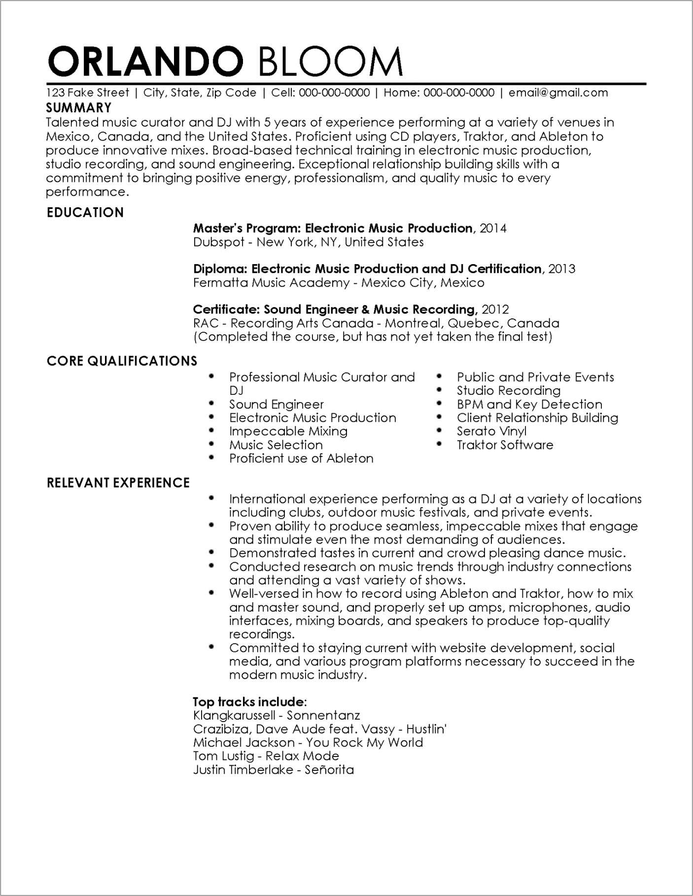Core Functional Resume Template Free