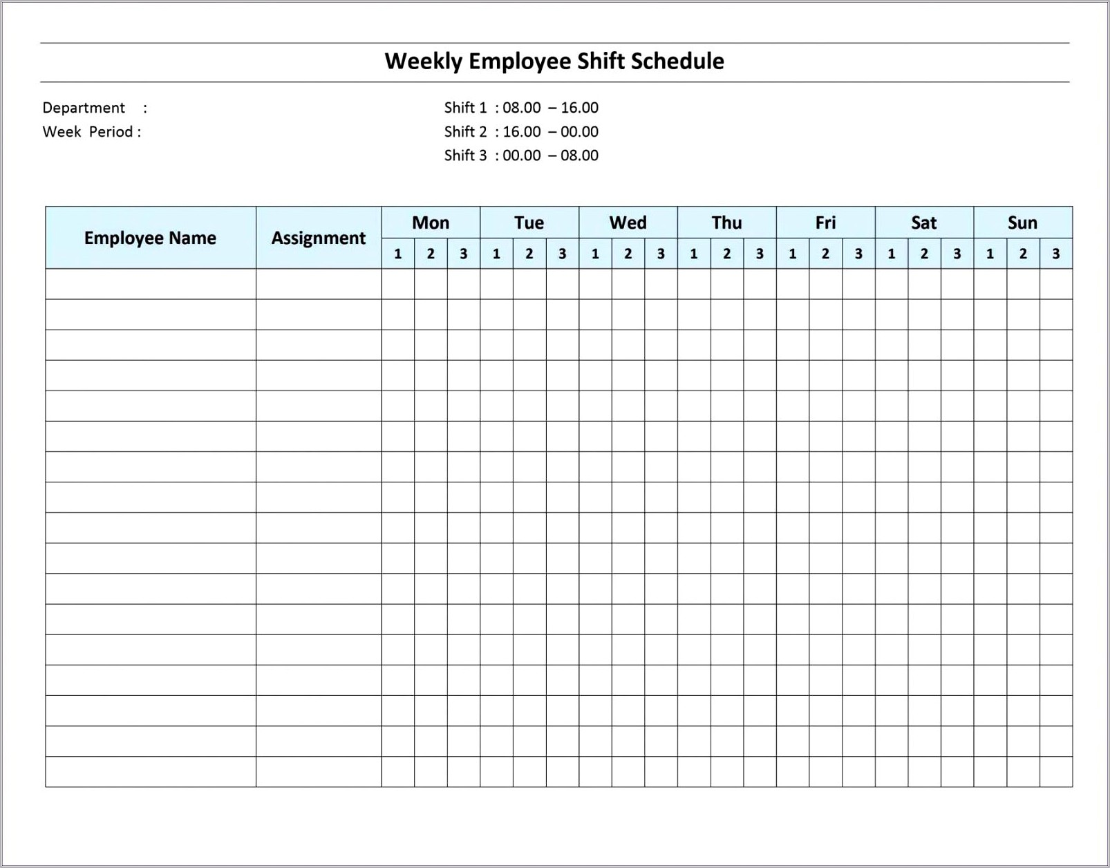 Daily Hourly Work Schedule Template