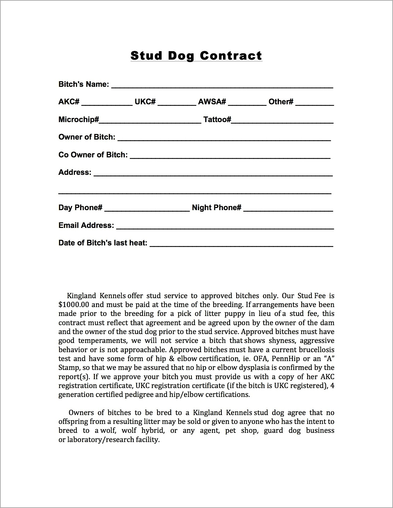 Dog Boarding Contract Template