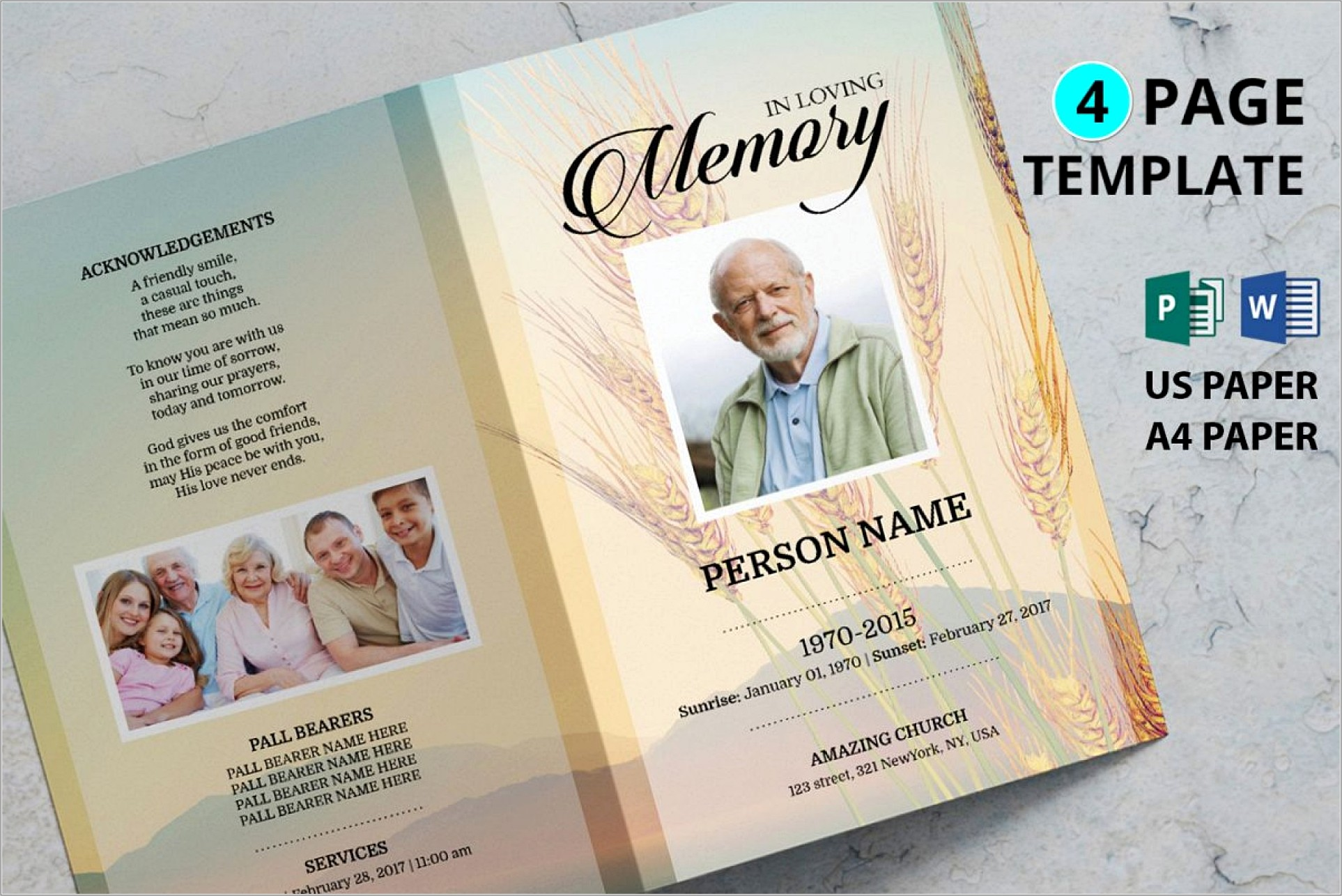 Download Free Funeral Program Template Microsoft Publisher