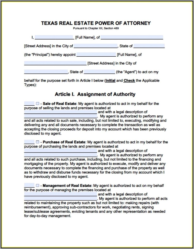 Durable Power Of Attorney Form Florida Bar