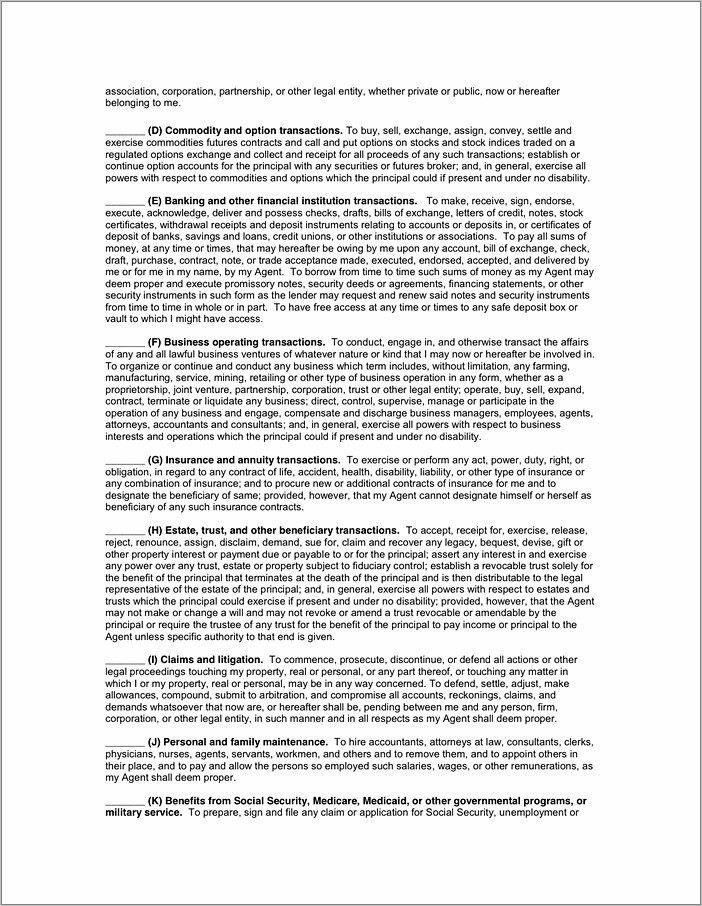 Durable Power Of Attorney Form Florida Pdf