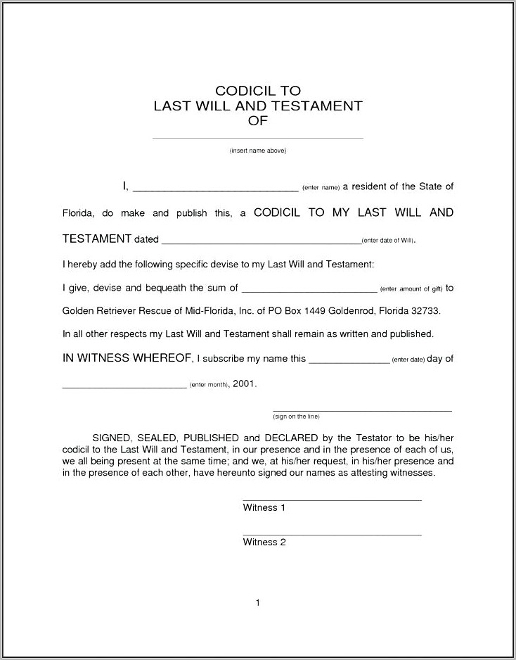 Example Last Will And Testament Templates