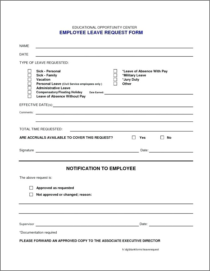 Example Of Exit Interview Form