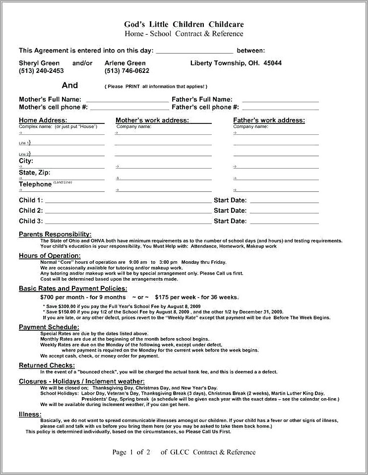 Family Home Daycare Contract Samples