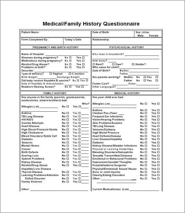 Family Medical History Questionnaire Form
