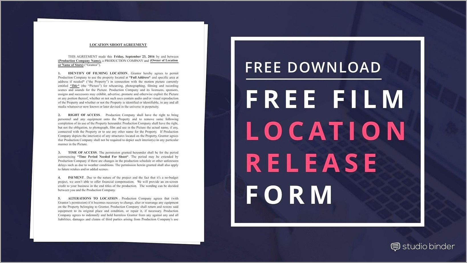 Film Location Release Form Template