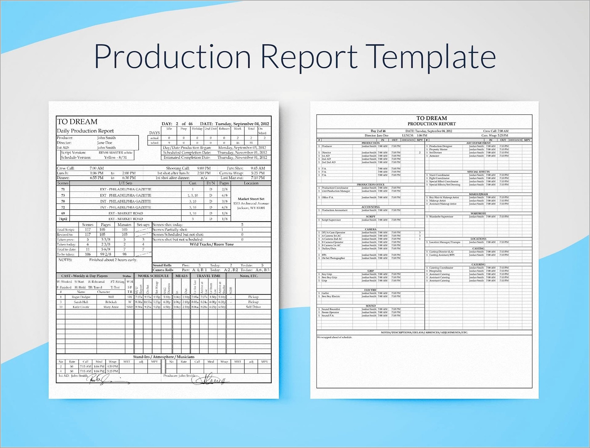 Film Production Schedule Template Word