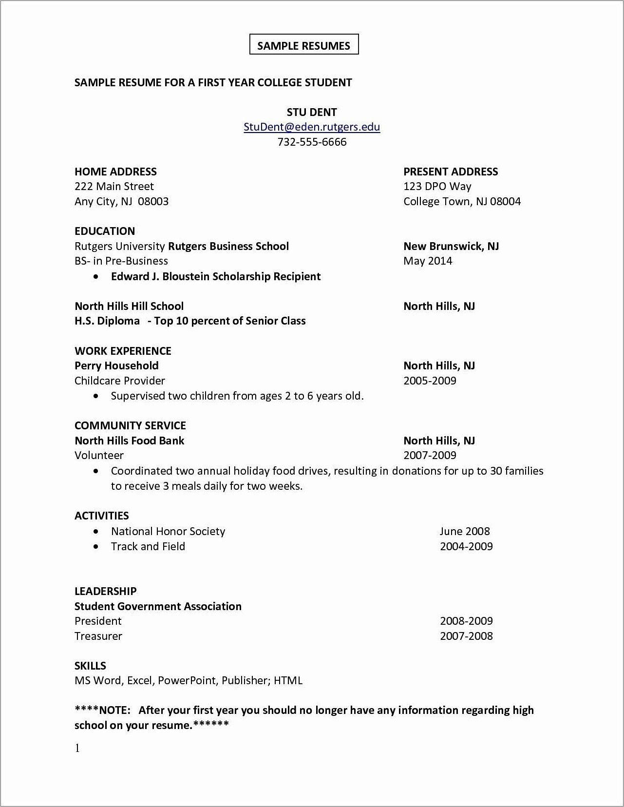 First Job Resume Template Word