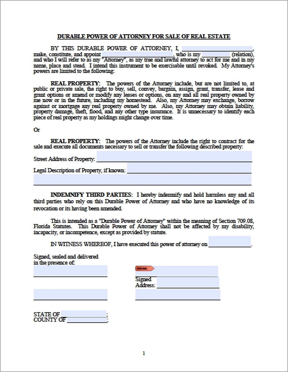 Florida Medical Power Of Attorney Form 2018