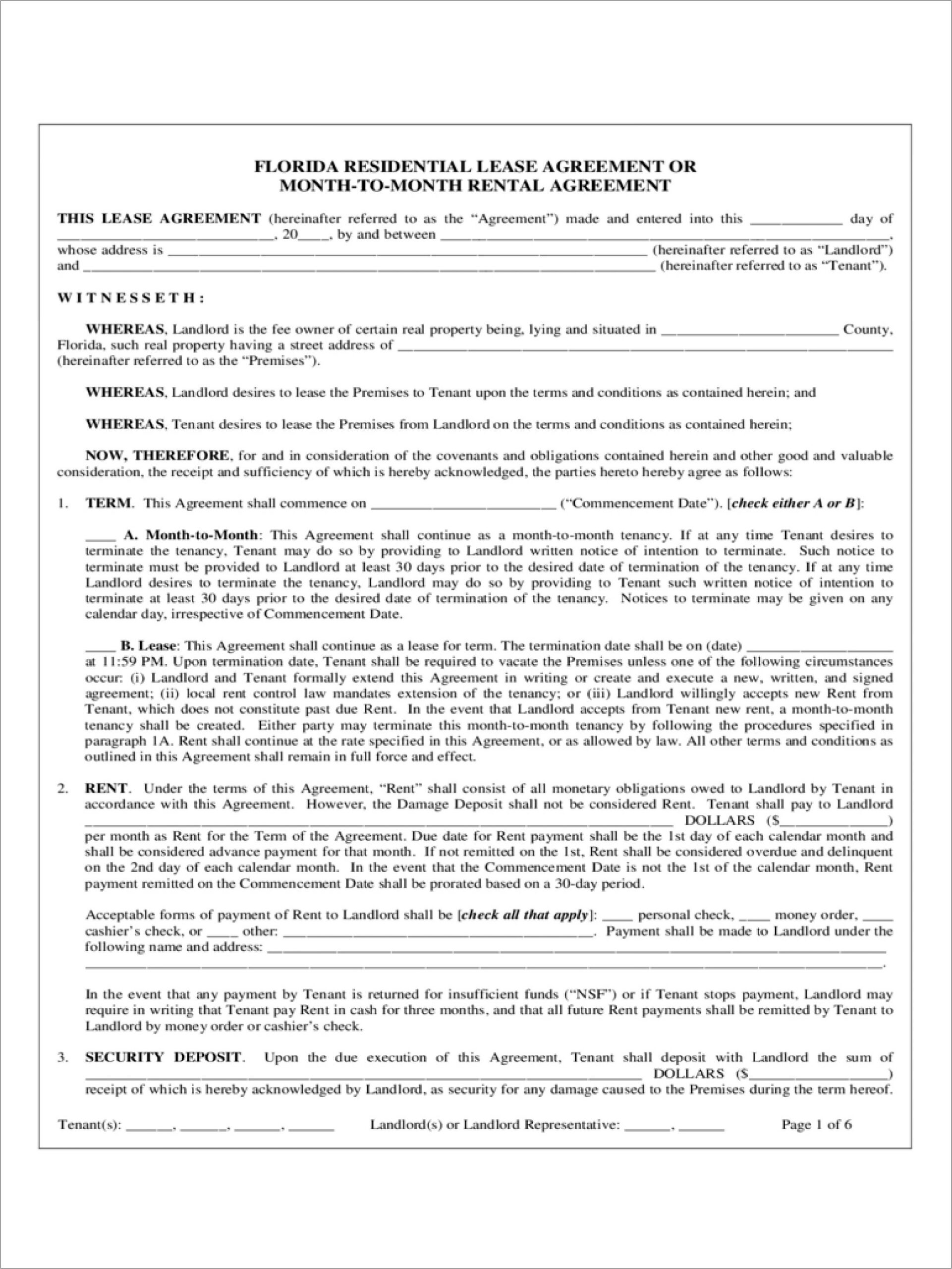 Florida Month To Month Lease Agreement Template