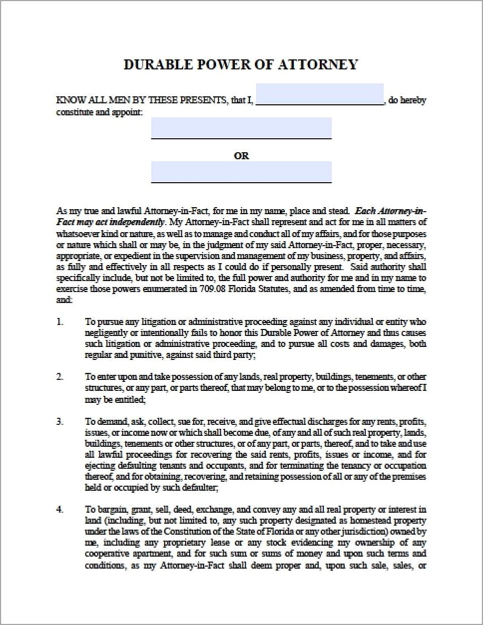 Florida State Bar Power Of Attorney Form