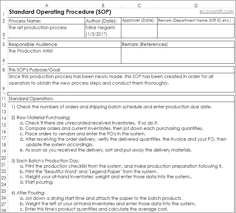 Food Manufacturing Batch Record Template