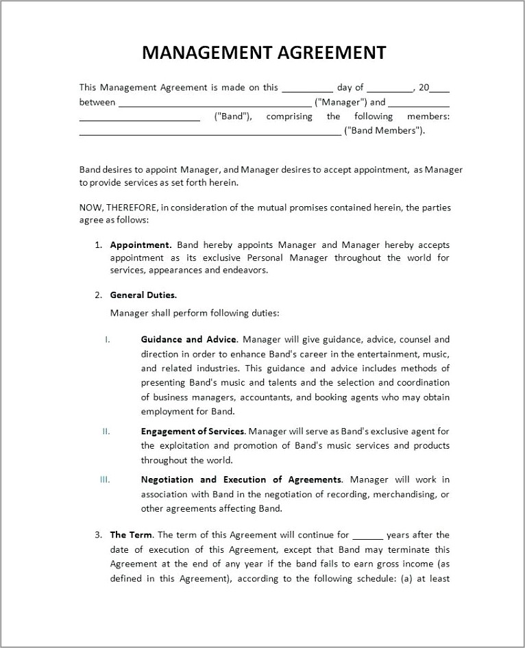 Free Artist Manager Contract Template