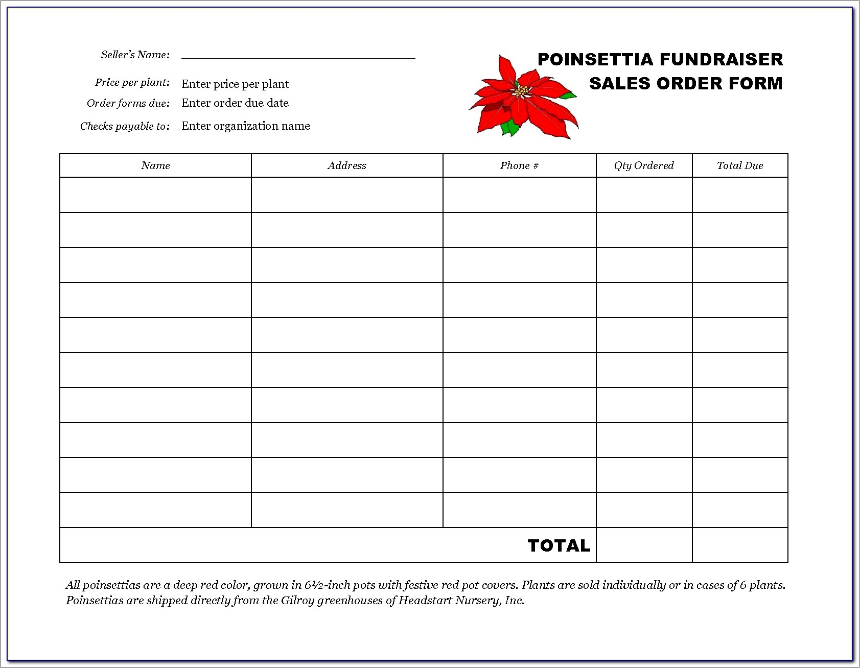 Free Blank Fundraiser Order Form Template