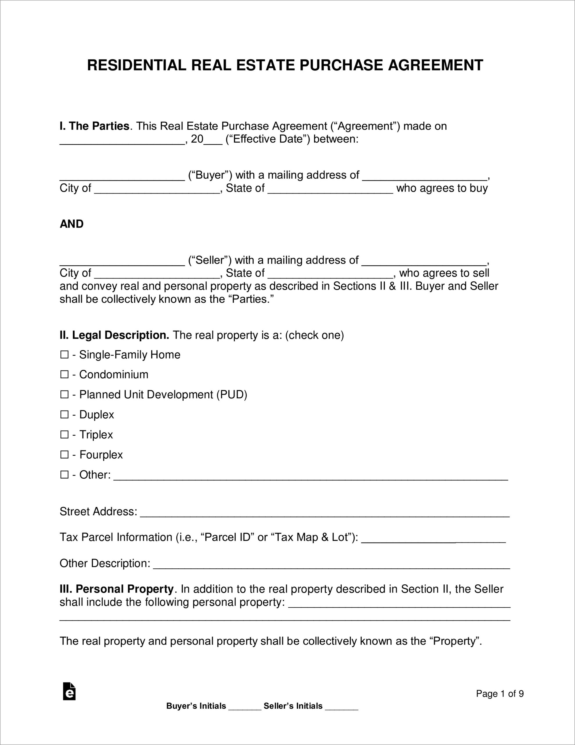 Free Blank Home Purchase Agreement Form