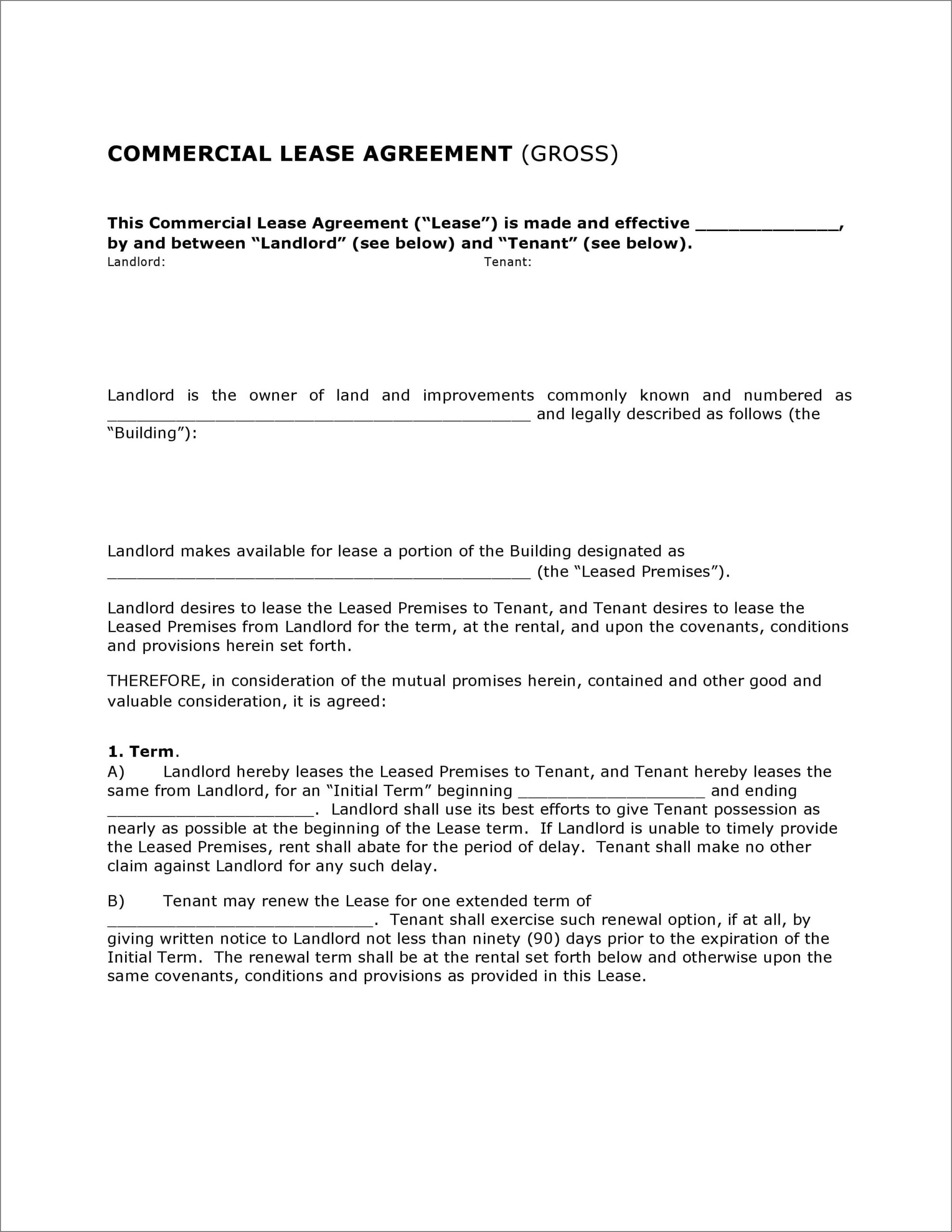 Free Commercial Lease Form Nj