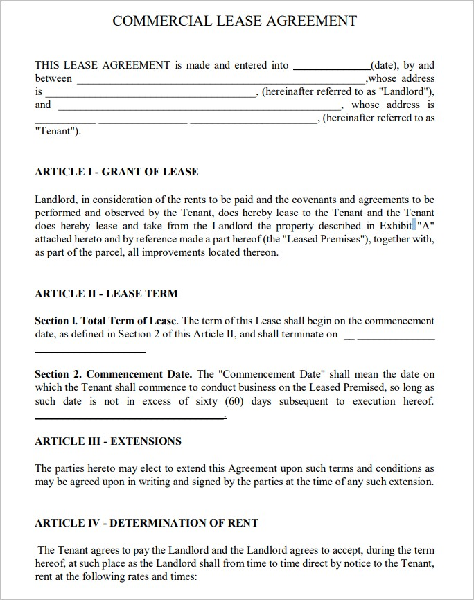 Free Commercial Lease Form Pdf
