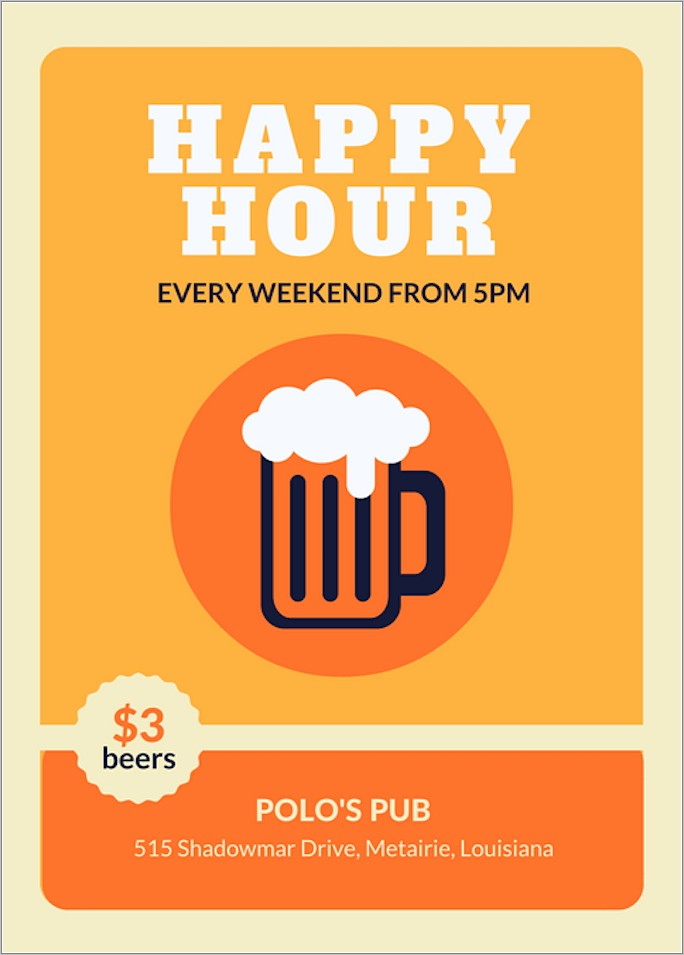Free Customizable Happy Hour Flyer Template