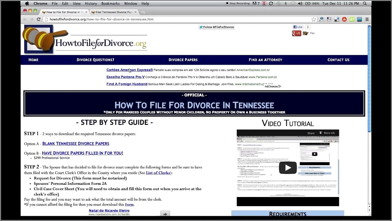Free Divorce Forms Tennessee