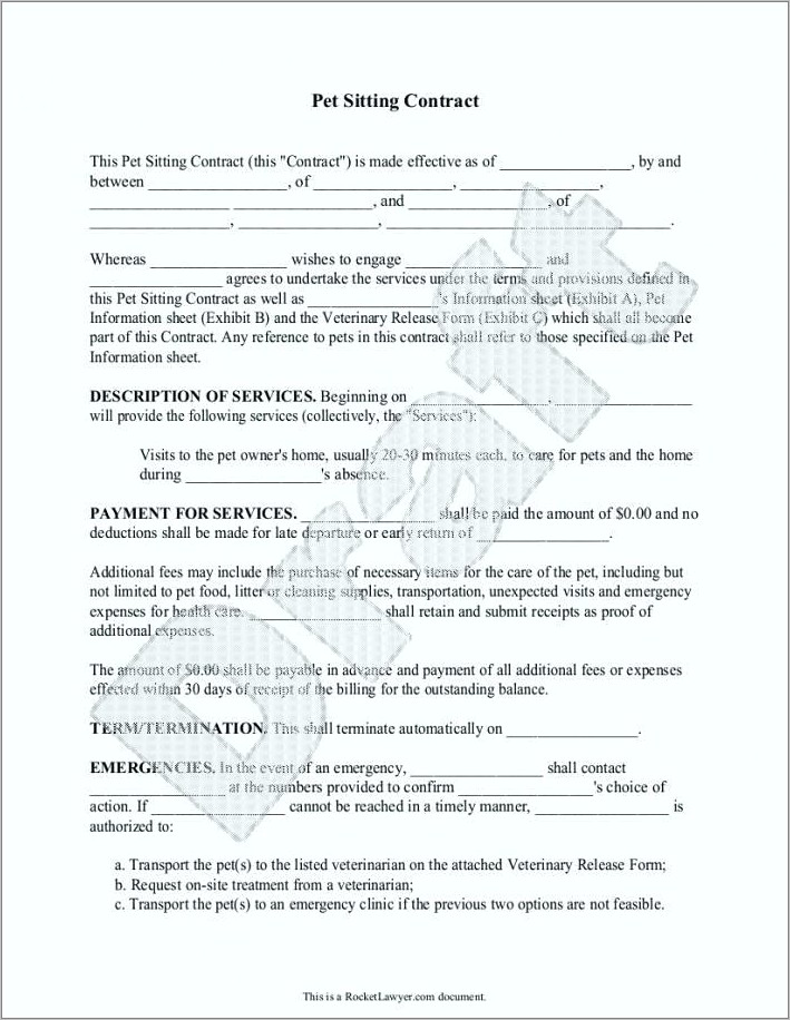 Free Dog Boarding Contract Template