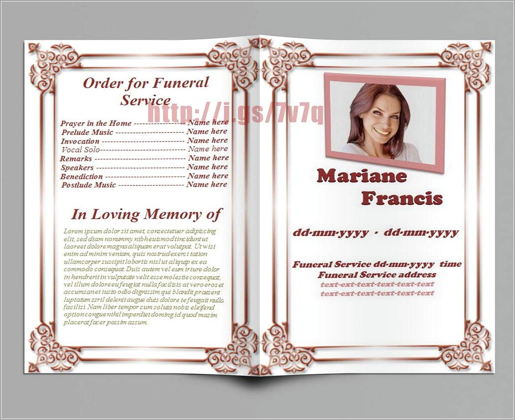 Free Funeral Program Template Download Word