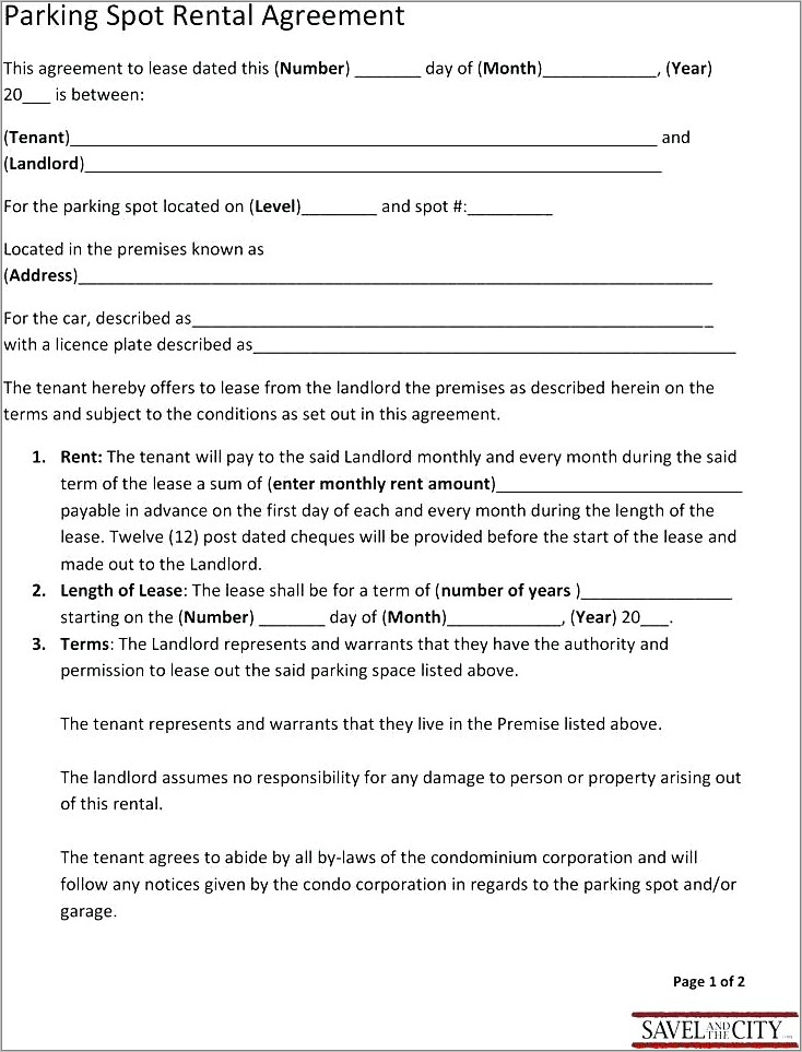 Free Garage Lease Agreement Form