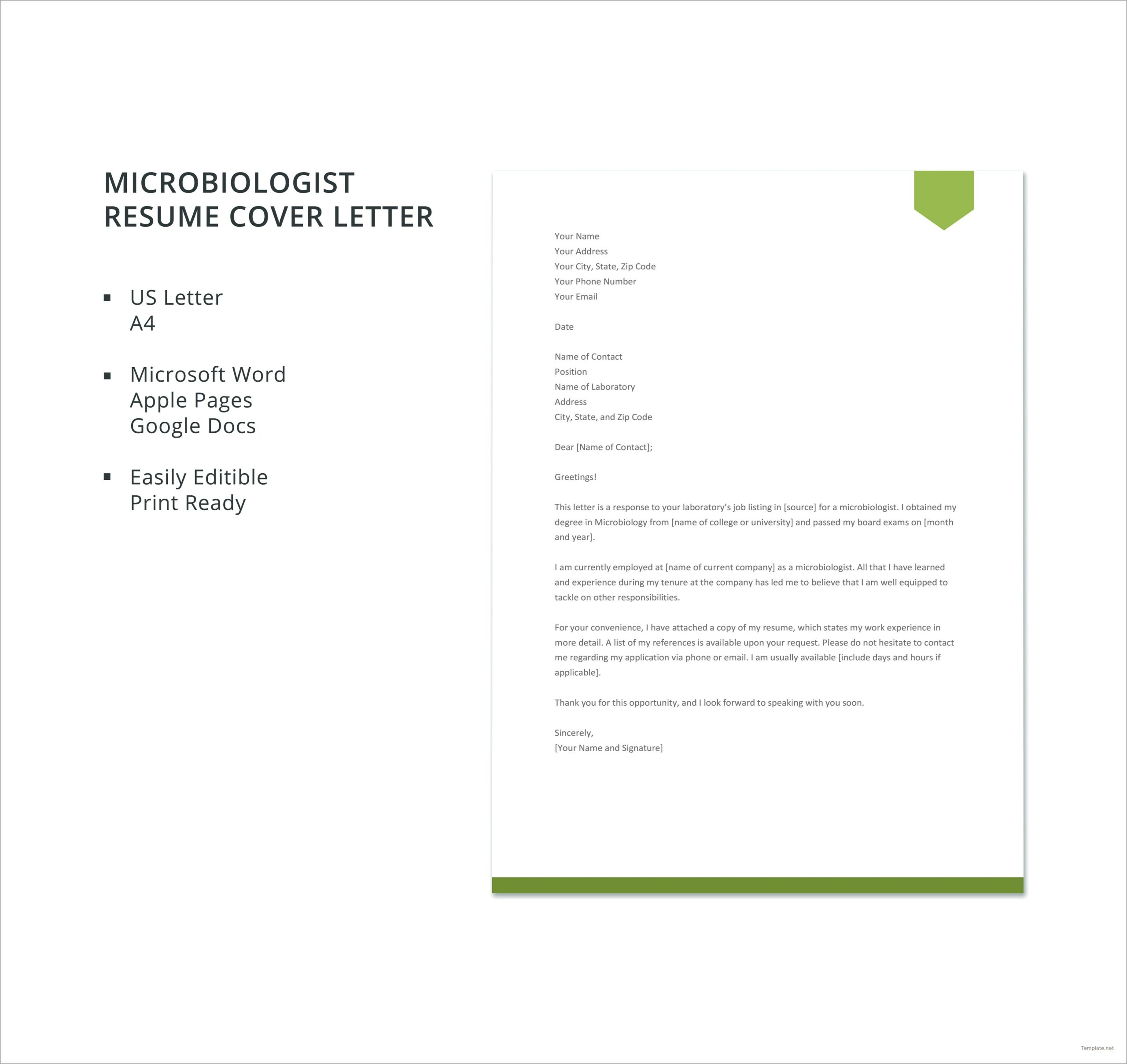 Free General Resume Cover Letter Template