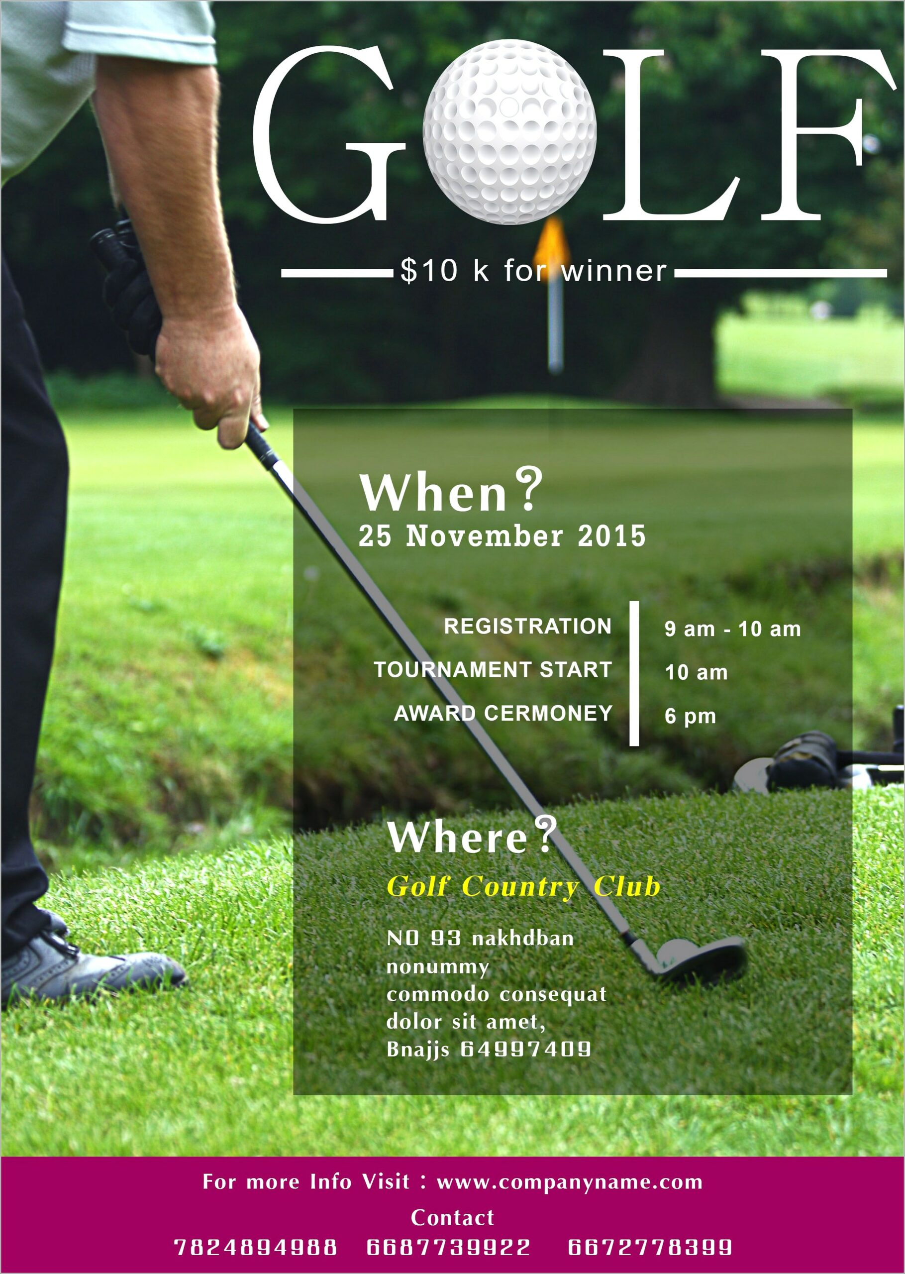 Free Golf Tournament Flyer Template Publisher