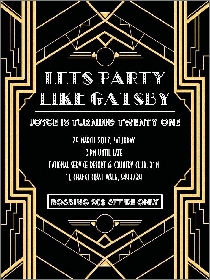 Free Great Gatsby Invitation Template Download