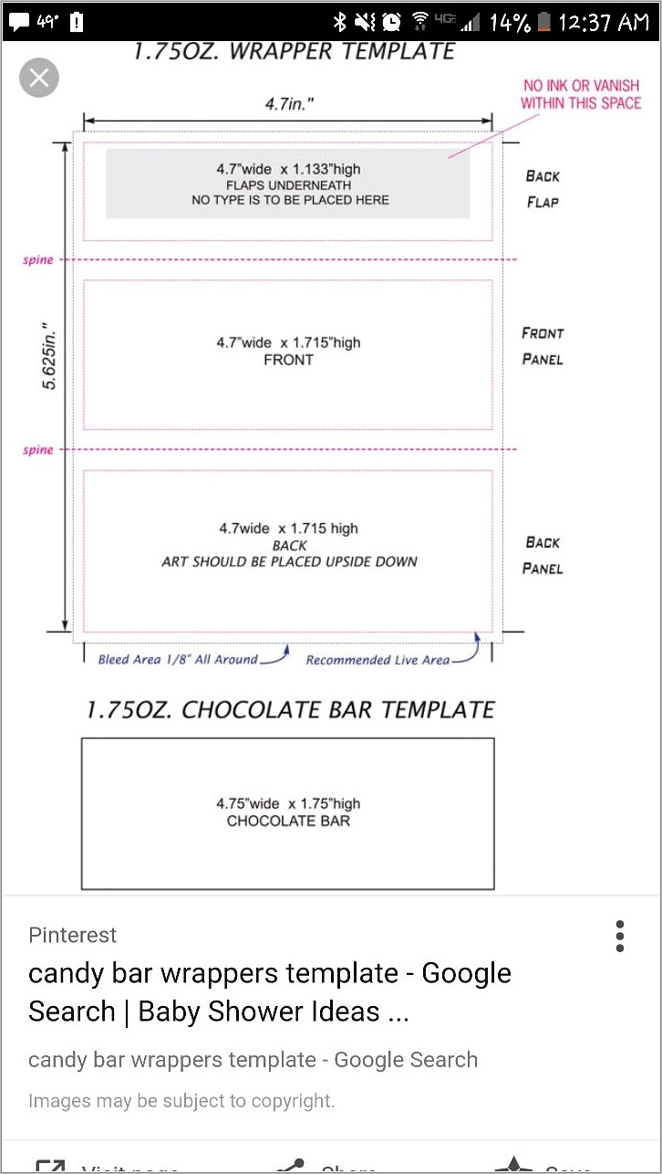 Free Hershey Miniature Candy Wrapper Template