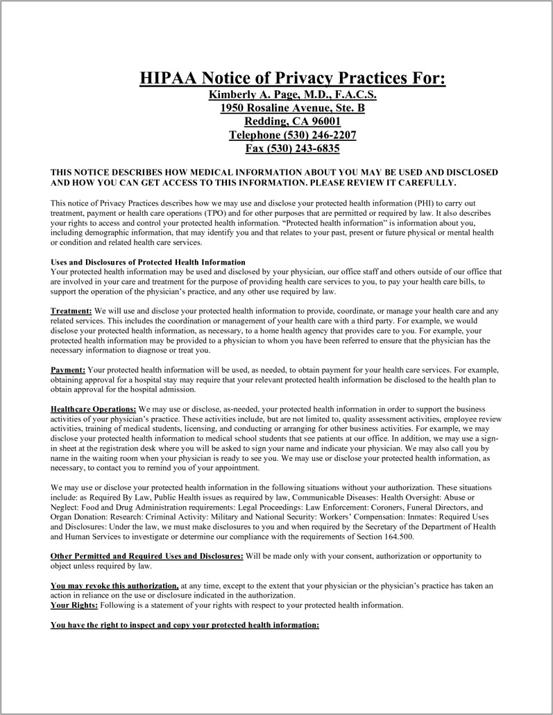 Free Hipaa Privacy Policy Template