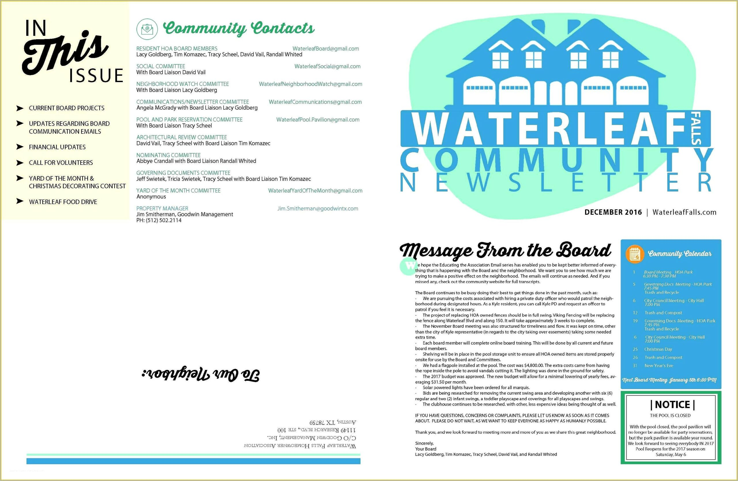 Free Homeowners Association Newsletter Templates