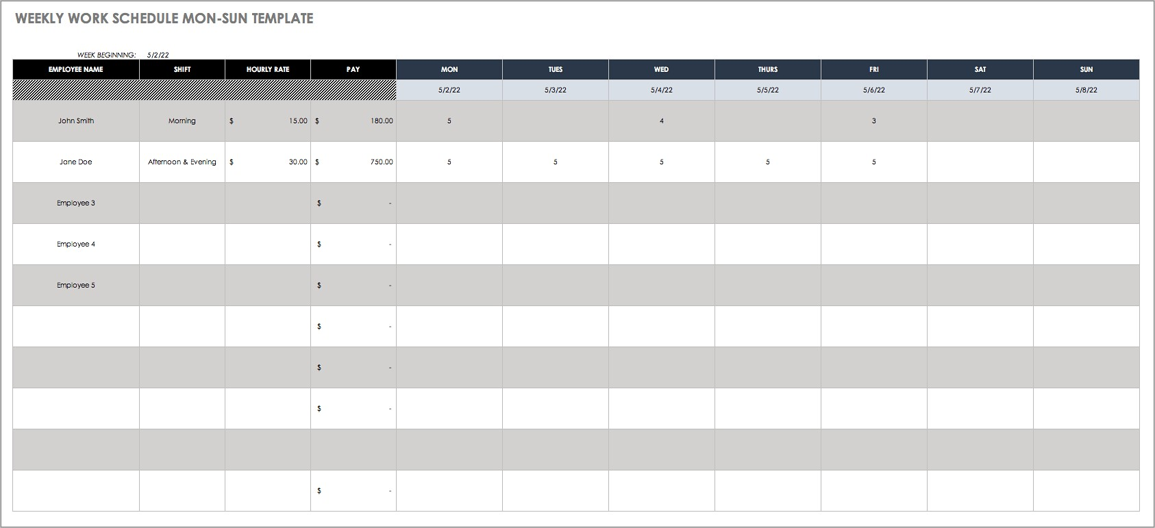 Free Hourly Work Schedule Template