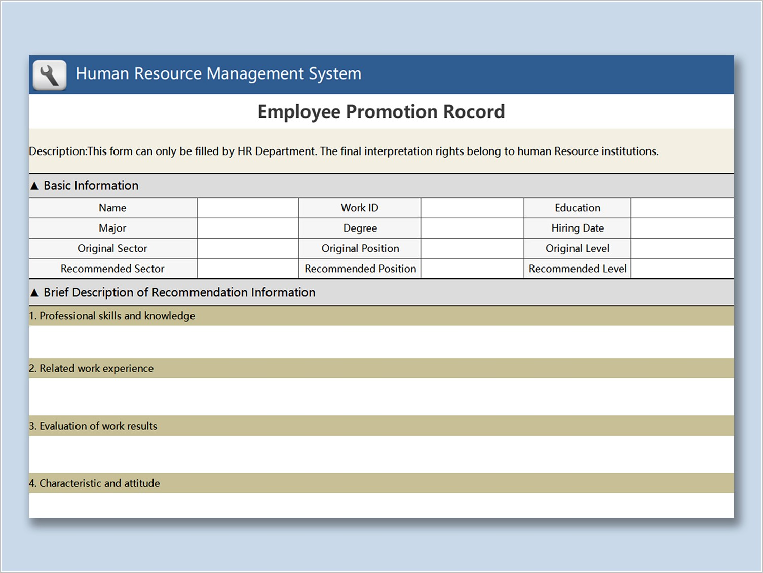 Free Human Resources Forms And Templates