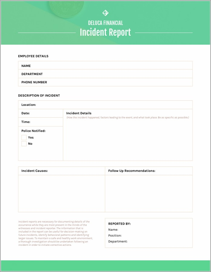 Free Incident Report Form Template Word