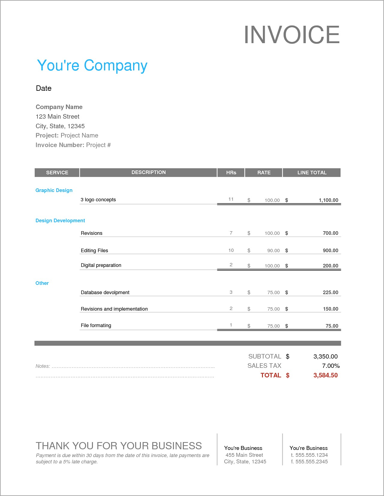 Free Invoice Template For Graphic Designers