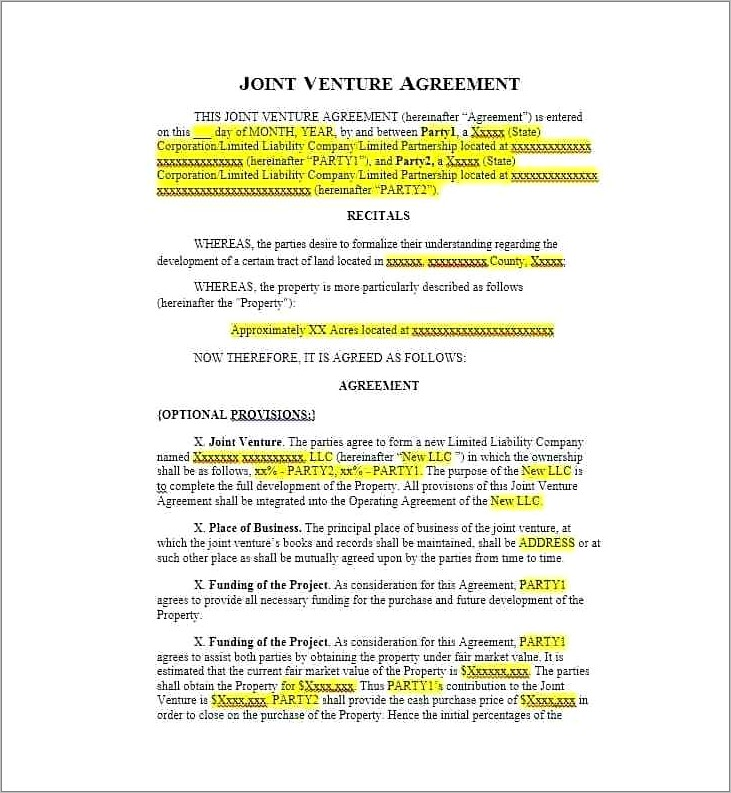 Free Joint Venture Agreement Form