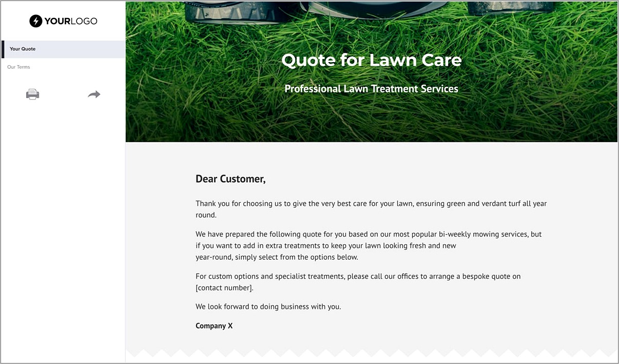 Free Lawn Care Quote Template