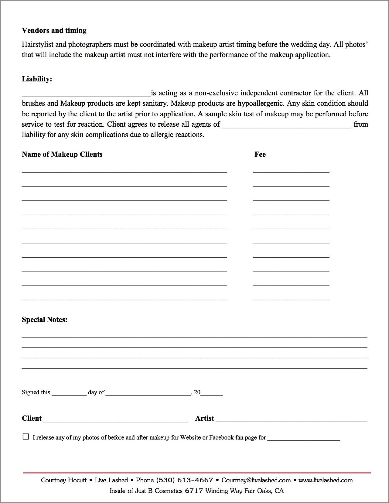 Free Makeup Consultation Form Template
